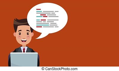 Businessman making money from laptop over red background High Definition animation colorful scenes