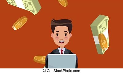 Businessman making money from laptop HD animation