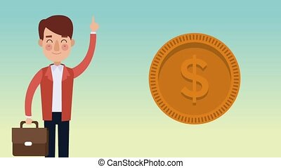 Businessman making money HD animation