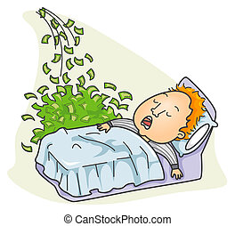 Businessman Making Money while Sleeping with clipping path