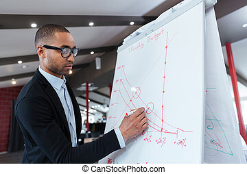 Businessman making presentation on the flipchart -...