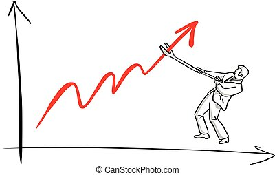 businessman making red graph up vector illustration sketch hand drawn with black lines isolated on white background