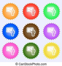 businessman making report icon sign. A set of nine different colored labels. Vector