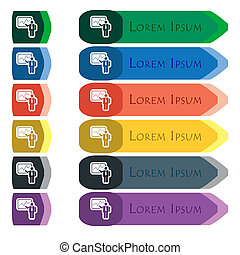 businessman making report icon sign. Set of colorful, bright long buttons with additional small modules. Flat design
