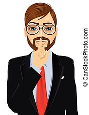 businessman making silence or secret hand gesture - portrait...