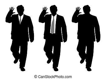 Businessman making stop gesture or waving hand saluting