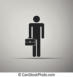 Businessman man with briefcase icon isolated on grey background. Flat design. Vector Illustration