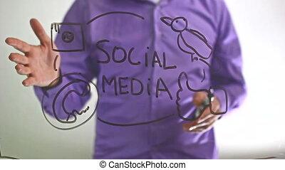 "businessman man writes on glass board ""Social media"""