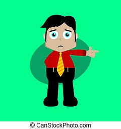 businessman manager at work pointing finger cartoon vector art