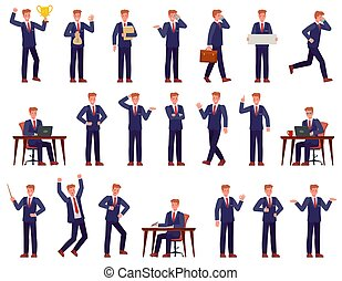 Businessman. Manager busy workplace, shows presentation, works on pc, goes and speaks on phone, success career cartoon vector characters