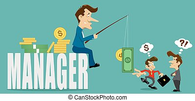 businessman manager with deceive, money and coins