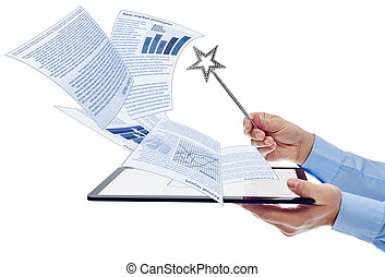Businessman managing electronic documents using tablet computer and magic wand - isolated