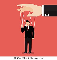 Businessman marionette on ropes. Business manipulate behind...
