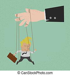 Businessman marionette on ropes
