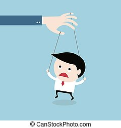 businessman marionette on ropes controlled, vector EPS10.