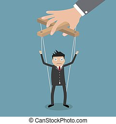 Businessman marionette on ropes