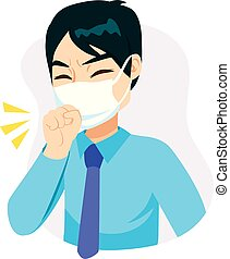 Businessman Mask Coughing - Young businessman with fist in...