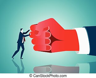 Businessman mediate with opposing. Concept business illustration. Vector flat