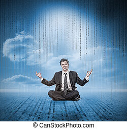 Businessman meditating and smiling