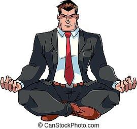 Businessman Meditating Illustration - Full length front view...