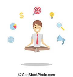 Businessman meditating in a lotus pose - Relaxed businessman...