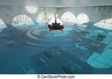 Businessman meditating in flooded office