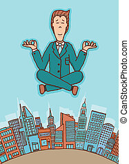 Businessman meditating in peace
