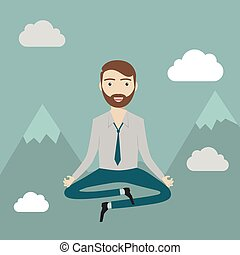 Businessman meditating in the sky. Keep calm, make right decisions and be successful in your business concept. Vector illustration