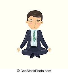 Businessman meditating in yoga lotus position, office worker relaxing cartoon vector Illustration