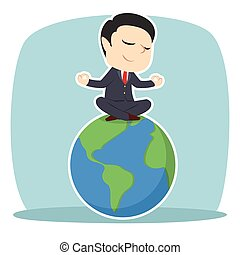 Businessman meditating on earth