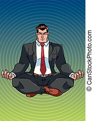 Businessman Meditating with Background - Full length front...