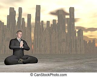 Businessman meditation - 3D render