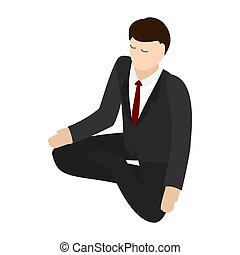 Businessman meditation icon, isometric 3d style