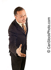 businessman holding hand for shaking on white background
