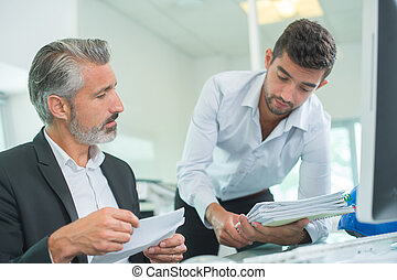 businessman meeting co-worker talking about job