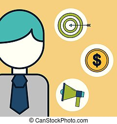 businessman megaphone money target digital marketing