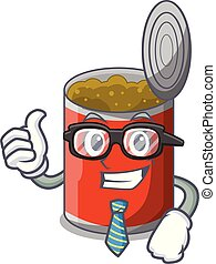 Businessman metal food cans on a cartoon vector illustration