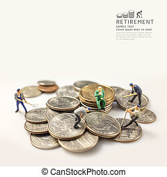 businessman miniature figure after retirement concept warm tone