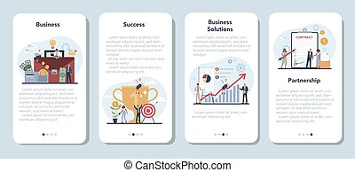Businessman mobile application banner set. Idea of strategy and
