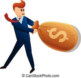 Businessman money bag icon, cartoon style
