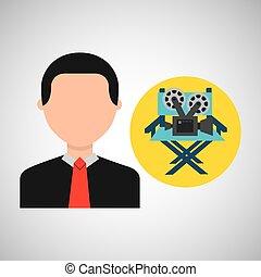 businessman movie director chair film icons