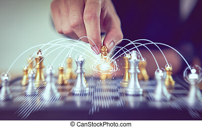 Businessman moving chess figure and brain network for plan strategy for success. leadership with management concept.