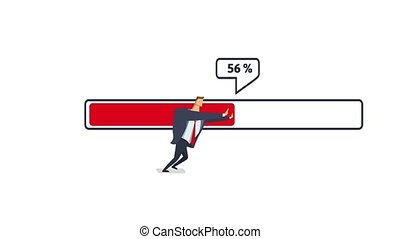 Businessman moving red loading bar with percent number. Flat...