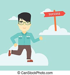Businessman moving to success vector illustration.
