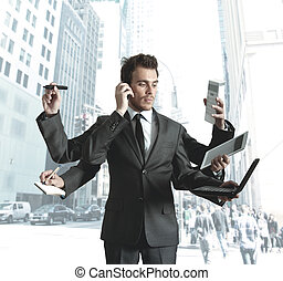 Businessman multitasking - Businessman stressed by too many ...