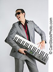 Businessman musician playing instrument with suit