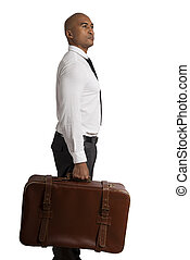 Businessman must choose between different destinations. concept of difficult career