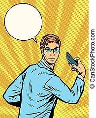 businessman Narcissus retro pop art pop art retro style. The...
