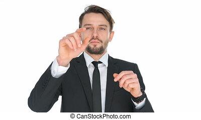 Businessman navigating on a virtual touchscreen