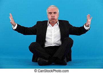 Businessman needing breathing space